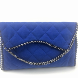 6b0b855b31a266 Chanel Flapover Chain Around Electric Blue Clutch