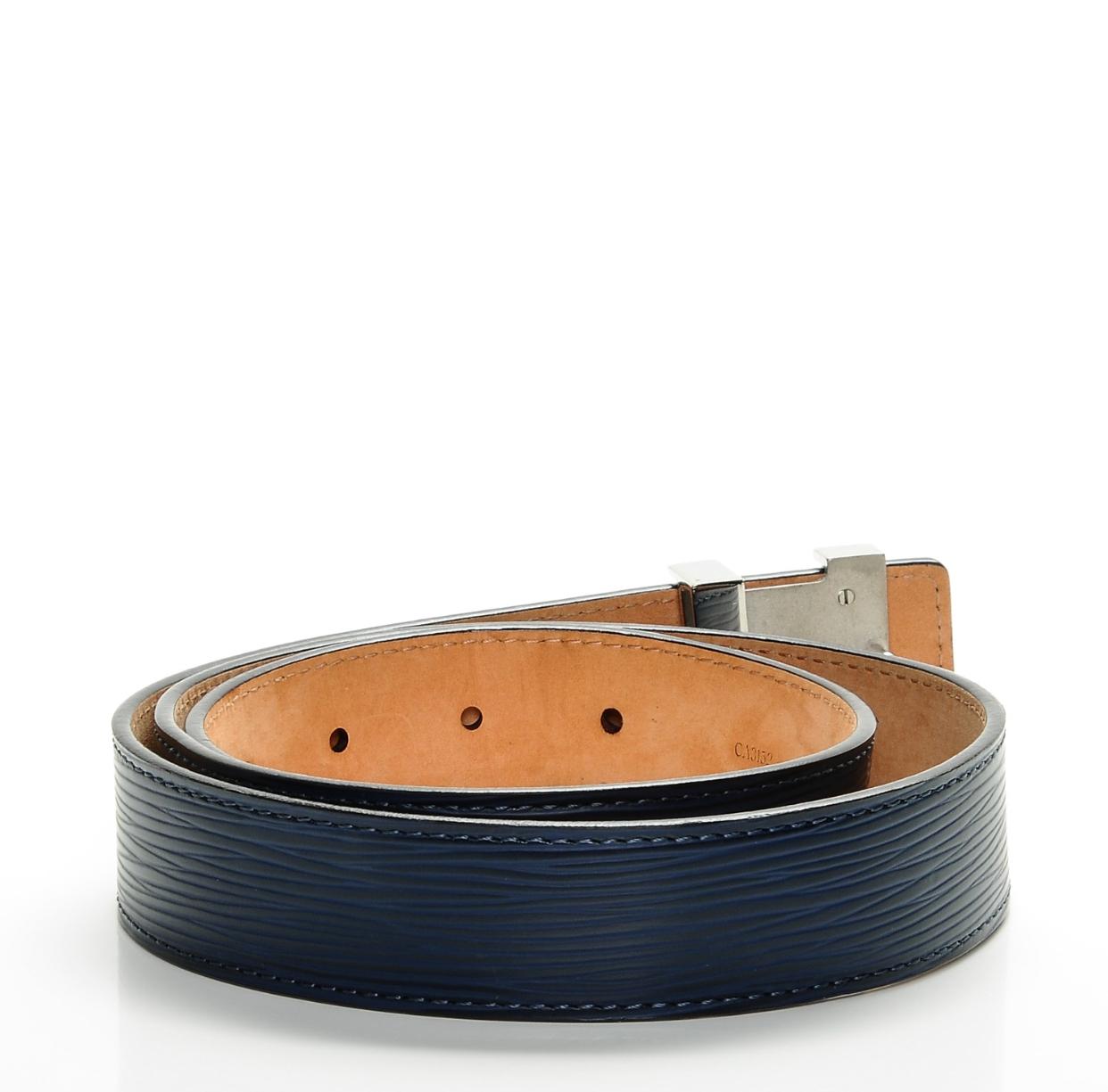 d7e338dd39a1 Louis Vuitton Initiales 30mm Indigo Epi Leather Belt